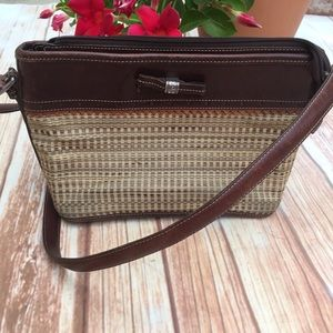 BRIGHTON Summer Woven & Leather bag silver details
